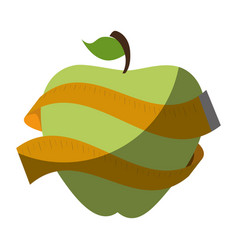 apple with tape measure icon vector image