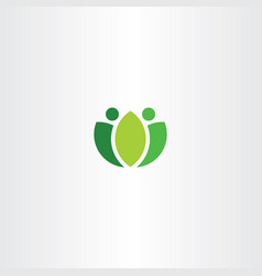 Abstract logo green people fresh bio symbol vector