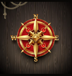 golden ancient compass rose vector image
