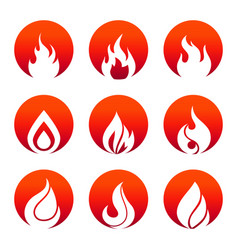 white flat fire icons in fire rounds design vector image