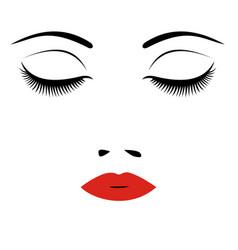 Woman beautiful closed eyes vector