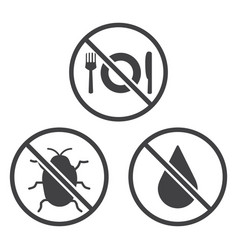 Do not eat bug and wet icons vector