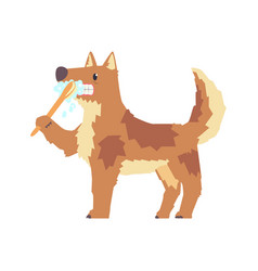 Cute cartoon dog brushing teeth with tooth brush vector