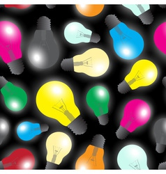 Color light bulbs - light source seamless pattern vector