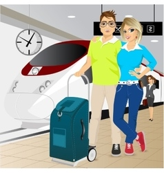 Happy couple standing at the train station vector