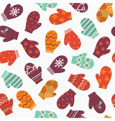 Mittens bright winter seamless pattern vector