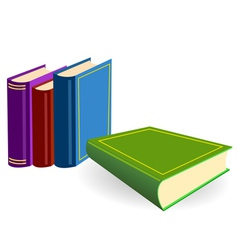 Four multicoloured books lay on a white background vector
