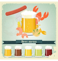 Vintage beer menu postcard vector