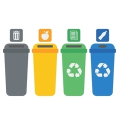 Four colored recycling bins vector