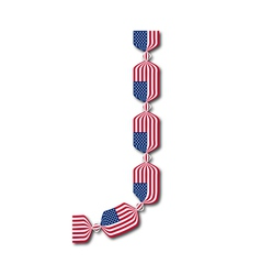 Letter j made of usa flags in form of candies vector
