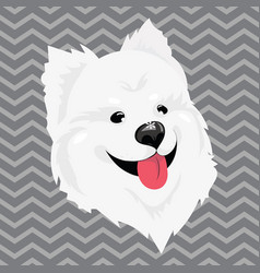 A cartoon portrait of a white dog with snow on his vector