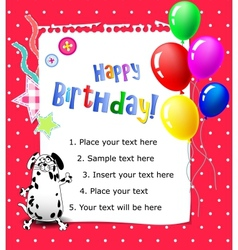 Baby Happy birthday card pink vector image