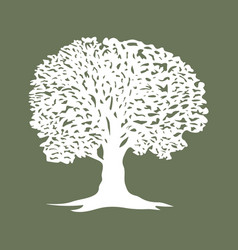 beautiful tree silhouette icon for websites vector image