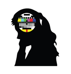 beauty girl and tv test vector image