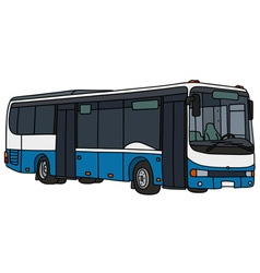 Blue and white city bus vector