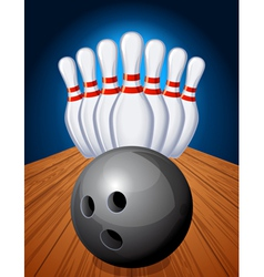Bowling pins and ball vector