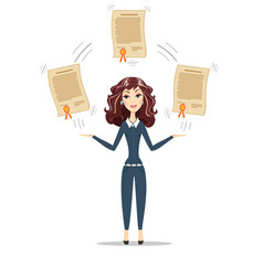 businesswoman holding a diploma or patent vector image