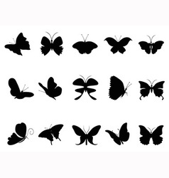 butterflies silhouette collection vector image vector image