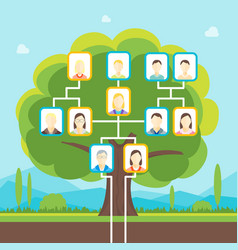 cartoon family tree vector image
