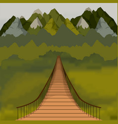 Colorful background outside suspension bridge and vector
