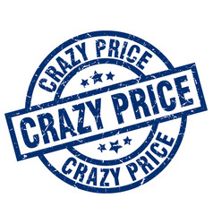 crazy price blue round grunge stamp vector image vector image