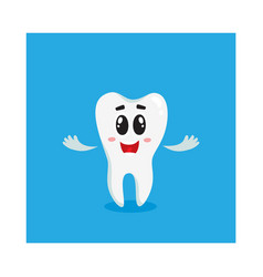 cute and happy shiny white tooth character vector image vector image