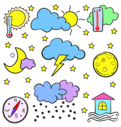 Doodle of weather set element vector