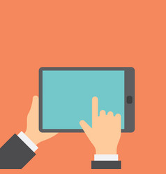 Finger clicks on tablet display with touch screen vector