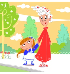 granny with her granddaughter vector image vector image