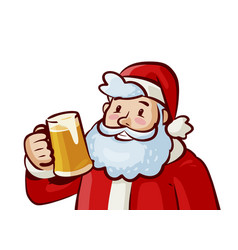 happy santa claus with mug of fresh beer in hand vector image vector image