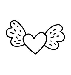 heart love with wings vector image vector image