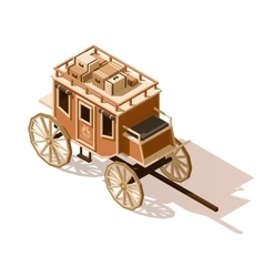 Isometric low poly stagecoach icon vector