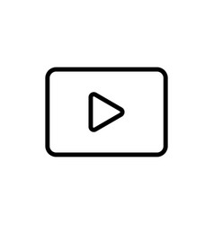 line video play icon on white background vector image vector image