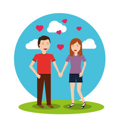Lovely happy couple holding hands hearts landscape vector