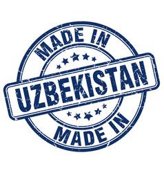 Made in uzbekistan blue grunge round stamp vector