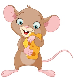 Mouse holding a piece of cheese vector