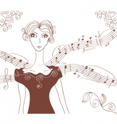 Music retro girl background vector