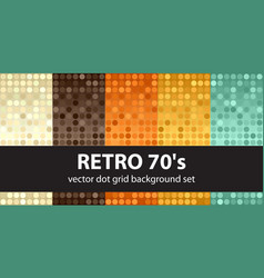 polka dot pattern set retro 70s seamless vector image vector image