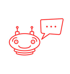 Red thin line simple chatbot icon vector
