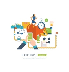 Running woman Healthy lifestyle fitness concept vector image vector image