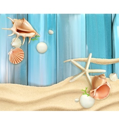 Seashells on sand and wooden background vector image vector image