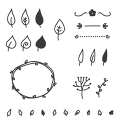 Set of doodle leaves and elements vector