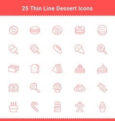 Set of Thin Line Stroke Dessert and Sweet Icon vector image vector image