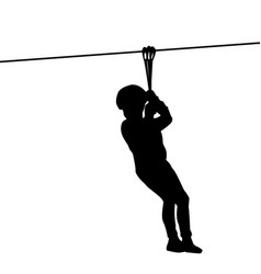 Silhouette of a kid playing with a tyrolean vector