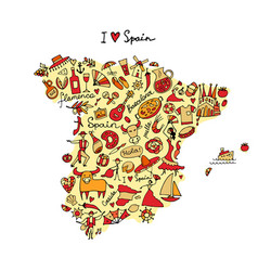 Spain map made from design elements sketch design vector