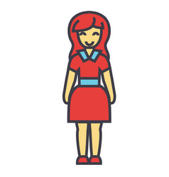 Standing young happy woman in cute dress concept vector