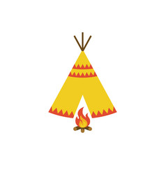 Teepee tent of native american and bonfire vector