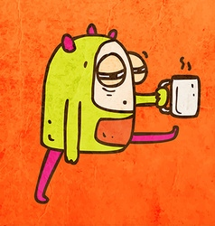 Tired Alien with Coffee Cartoon vector image vector image