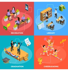 University People 4 Isometric Icons Square vector image vector image