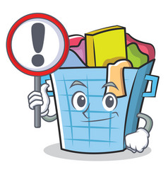 With sign laundry basket character cartoon vector
